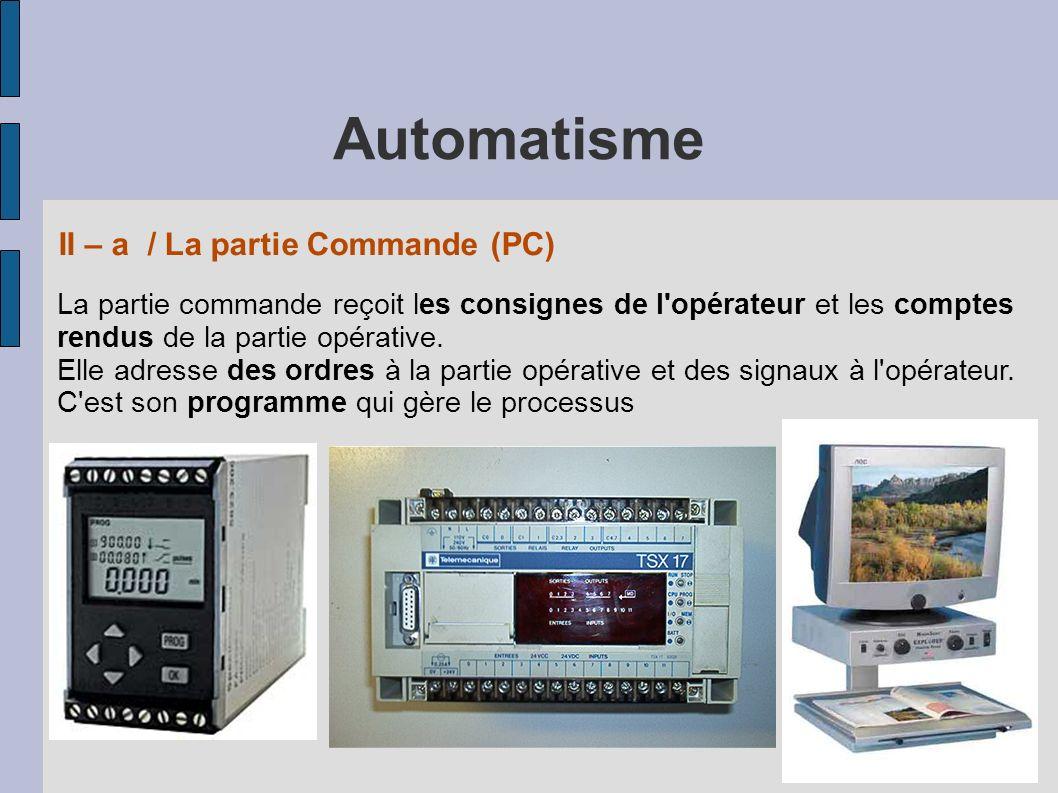 La partie commande reçoit les consignes de l opérateur et les comptes rendus de la partie opérative.