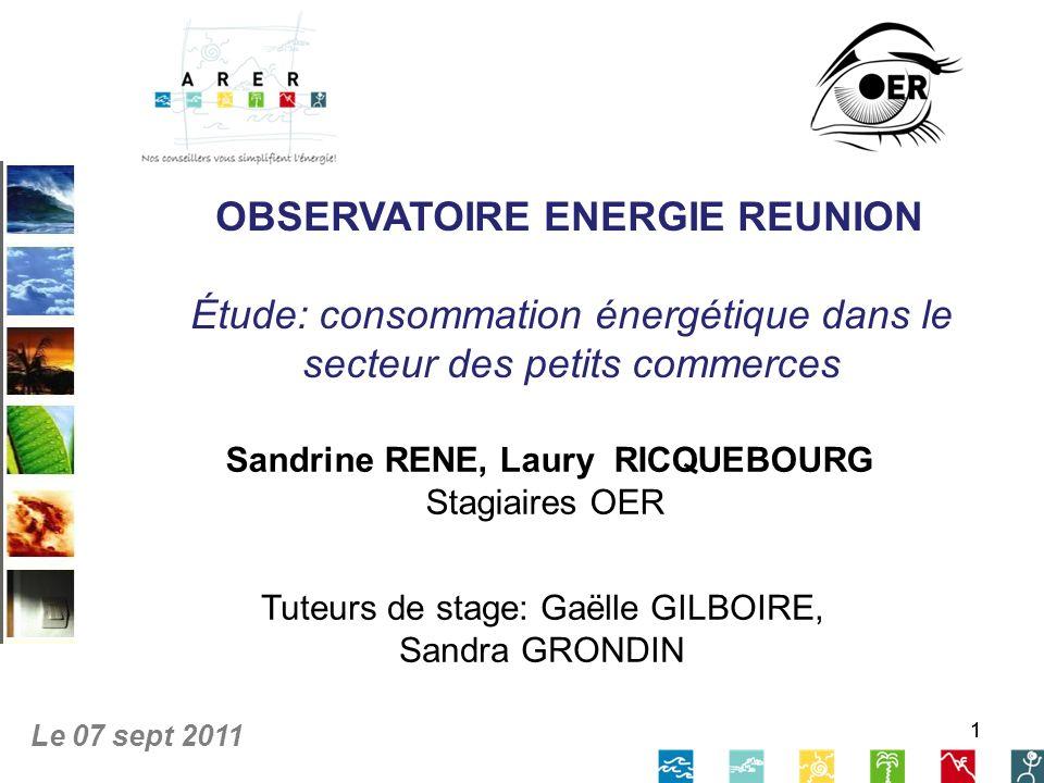 32 Taux déquipements Agence Régionale de lÉnergie Réunion 07 / 09 /2011 Étude consommation énergétique dans le secteur des petits commerces Taux déquipement en éclairage Moyenne : 69,8 luminaires Auteur : OER