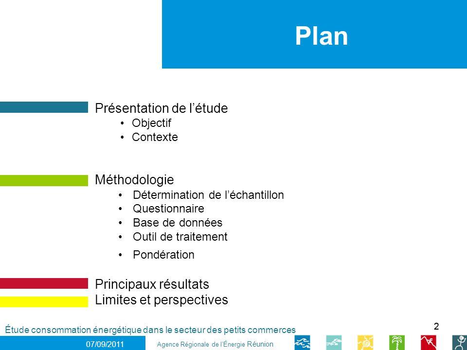 22 1 er décembre 2010 Étude consommation énergétique dans le secteur des petits commerces Plan 07/09/2011 Présentation de létude Objectif Contexte Mét