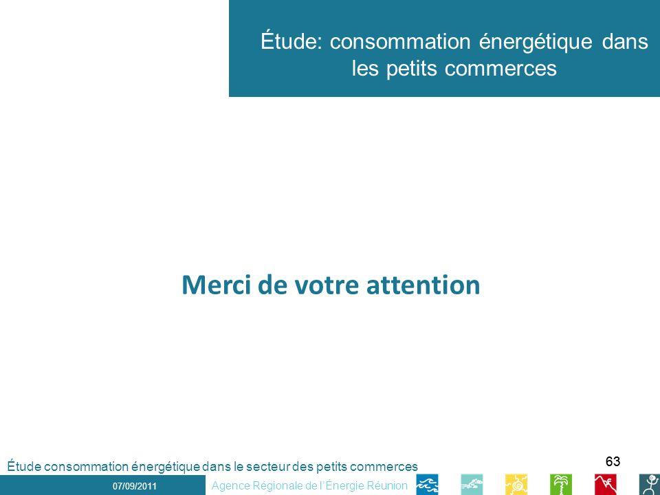 63 1 er décembre 2010 Étude: consommation énergétique dans les petits commerces 07/09/2011 Agence Régionale de lÉnergie Réunion Merci de votre attention Étude consommation énergétique dans le secteur des petits commerces