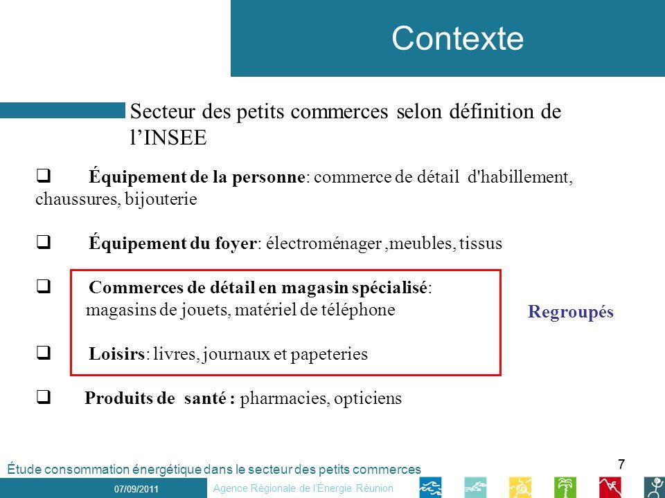 77 1 er décembre 2010 Contexte 07/09/2011 Secteur des petits commerces selon définition de lINSEE Agence Régionale de lÉnergie Réunion Étude consommat