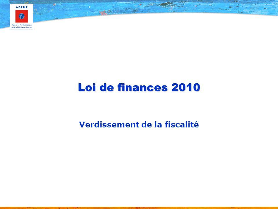 Loi de finances 2010 Verdissement de la fiscalité