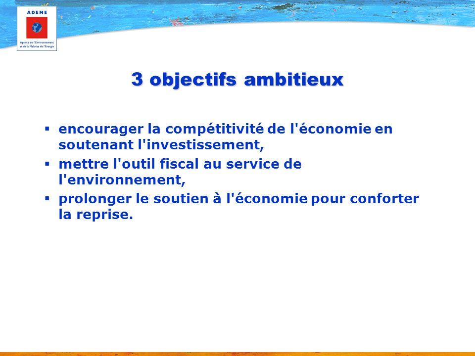 3 objectifs ambitieux encourager la compétitivité de l économie en soutenant l investissement, mettre l outil fiscal au service de l environnement, prolonger le soutien à l économie pour conforter la reprise.