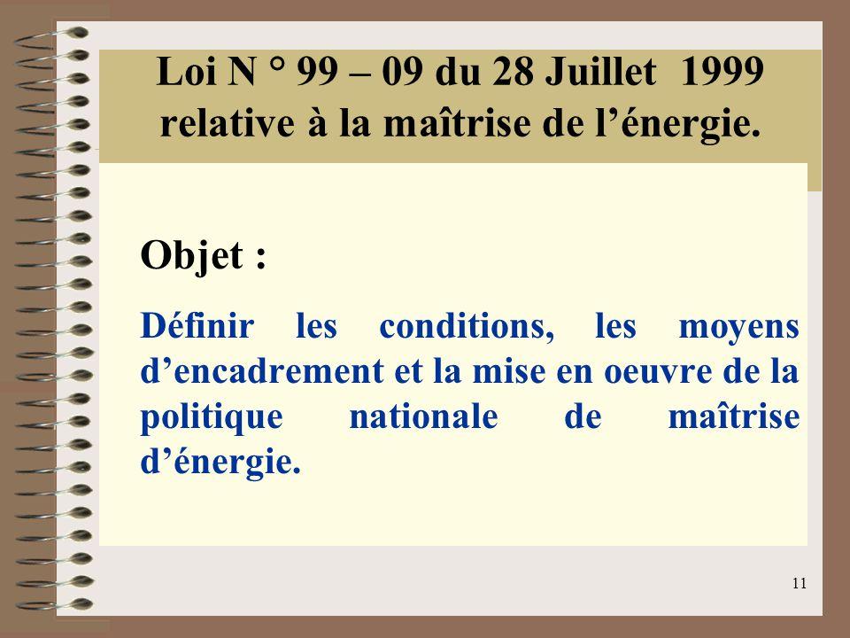 11 Loi N ° 99 – 09 du 28 Juillet 1999 relative à la maîtrise de lénergie. Objet : Définir les conditions, les moyens dencadrement et la mise en oeuvre