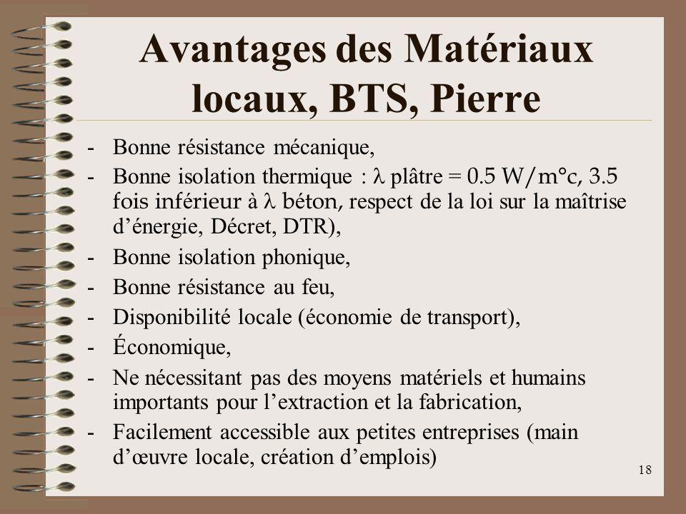 Avantages des Matériaux locaux, BTS, Pierre -Bonne résistance mécanique, -Bonne isolation thermique : plâtre = 0.5 W/m°c, 3.5 fois inf é rieur à b é ton, respect de la loi sur la maîtrise dénergie, Décret, DTR), -Bonne isolation phonique, -Bonne résistance au feu, -Disponibilité locale (économie de transport), -Économique, -Ne nécessitant pas des moyens matériels et humains importants pour lextraction et la fabrication, -Facilement accessible aux petites entreprises (main dœuvre locale, création demplois) 18