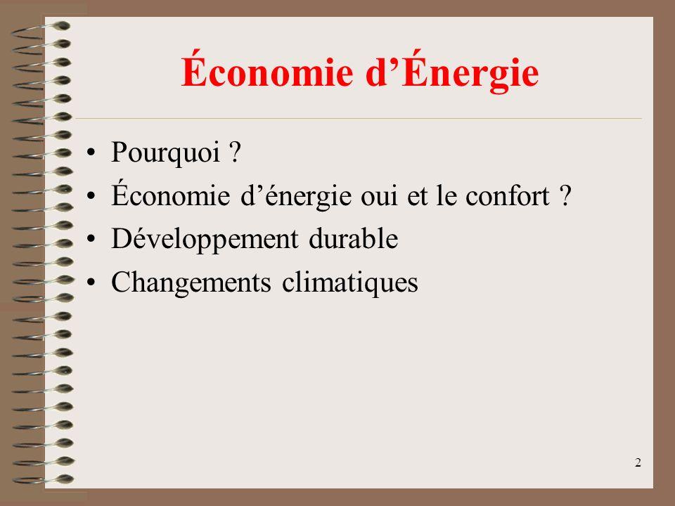 2 Économie dÉnergie Pourquoi ? Économie dénergie oui et le confort ? Développement durable Changements climatiques