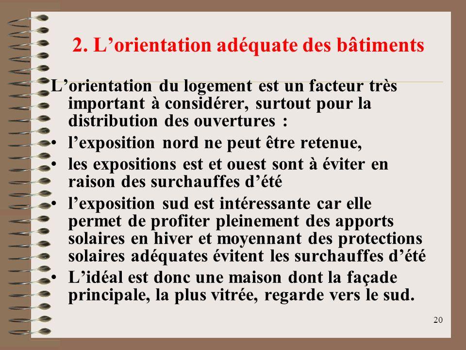 20 2. Lorientation adéquate des bâtiments Lorientation du logement est un facteur très important à considérer, surtout pour la distribution des ouvert