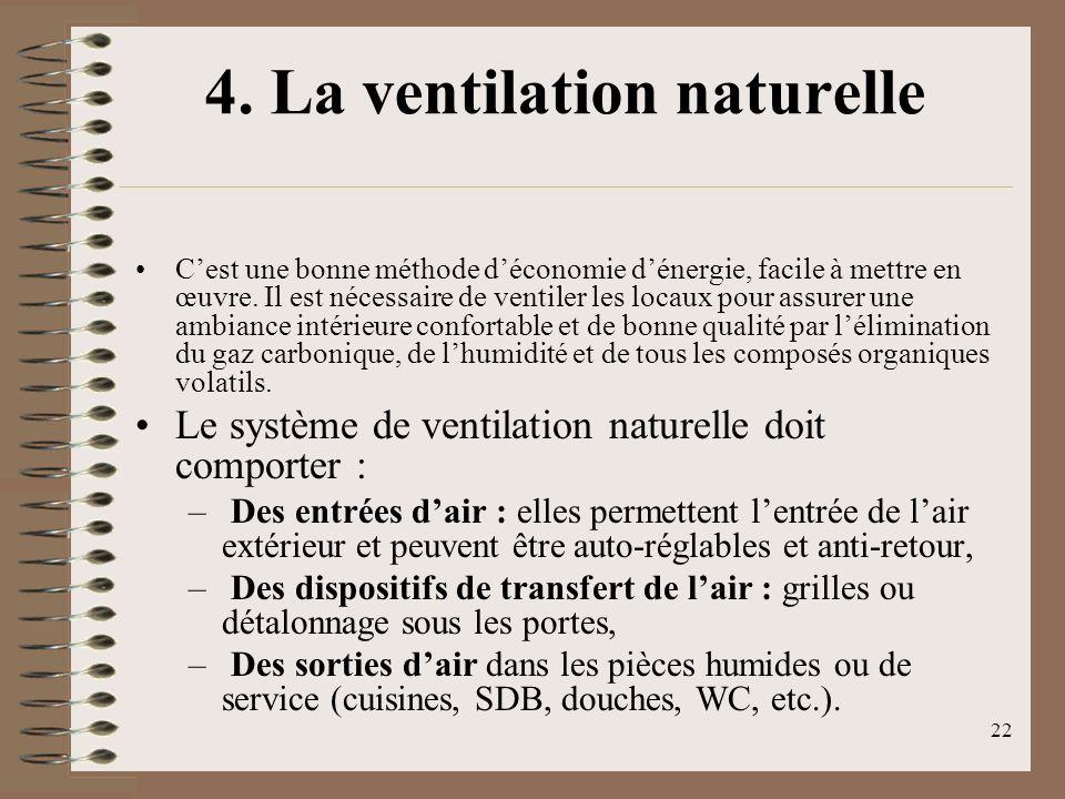 22 4. La ventilation naturelle Cest une bonne méthode déconomie dénergie, facile à mettre en œuvre. Il est nécessaire de ventiler les locaux pour assu