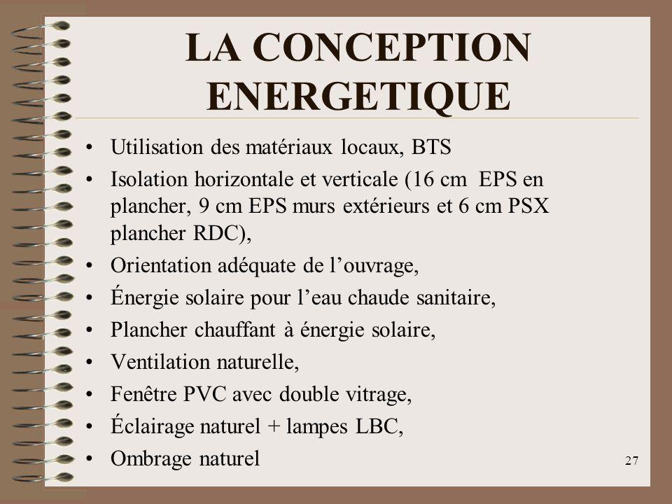 LA CONCEPTION ENERGETIQUE Utilisation des matériaux locaux, BTS Isolation horizontale et verticale (16 cm EPS en plancher, 9 cm EPS murs extérieurs et