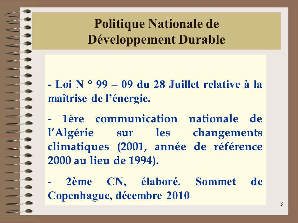 3 Politique Nationale de Développement Durable - Loi N ° 99 – 09 du 28 Juillet relative à la maîtrise de lénergie. - 1ère communication nationale de l