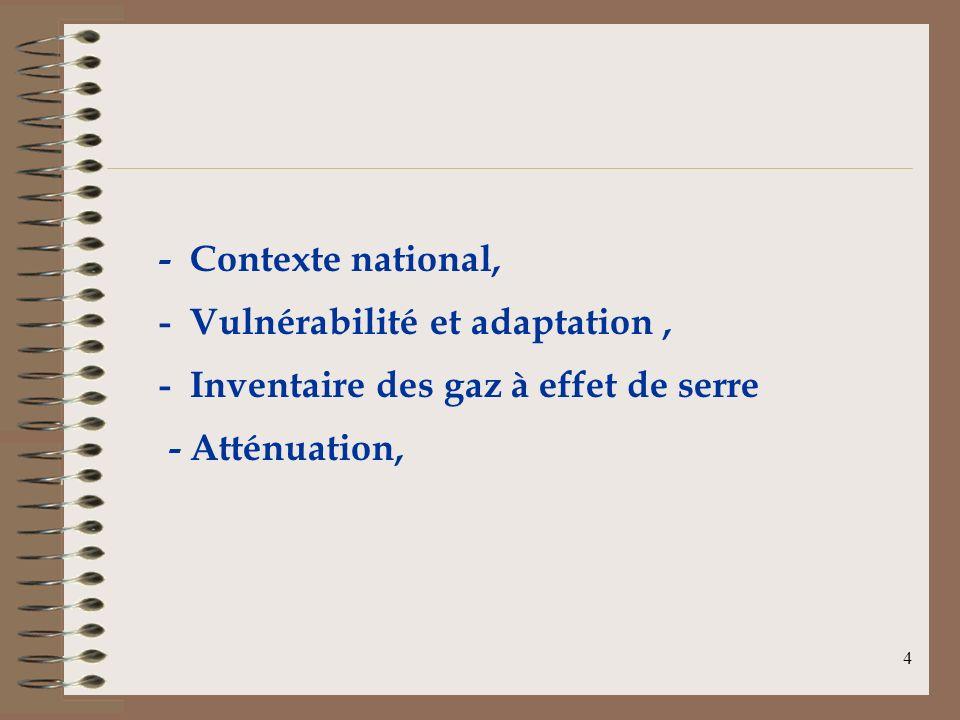4 - Contexte national, - Vulnérabilité et adaptation, - Inventaire des gaz à effet de serre - Atténuation,