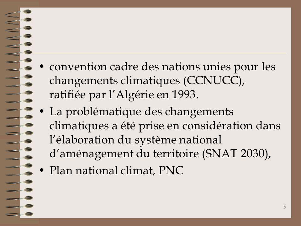 5 convention cadre des nations unies pour les changements climatiques (CCNUCC), ratifiée par lAlgérie en 1993. La problématique des changements climat