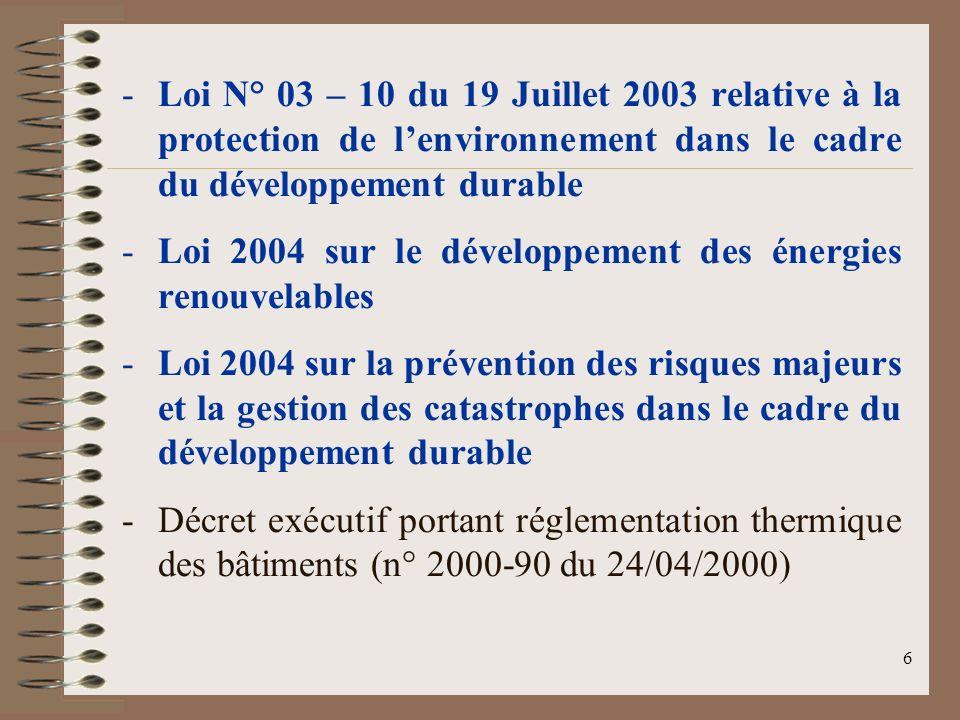 6 -Loi N° 03 – 10 du 19 Juillet 2003 relative à la protection de lenvironnement dans le cadre du développement durable -Loi 2004 sur le développement des énergies renouvelables -Loi 2004 sur la prévention des risques majeurs et la gestion des catastrophes dans le cadre du développement durable -Décret exécutif portant réglementation thermique des bâtiments (n° 2000-90 du 24/04/2000)