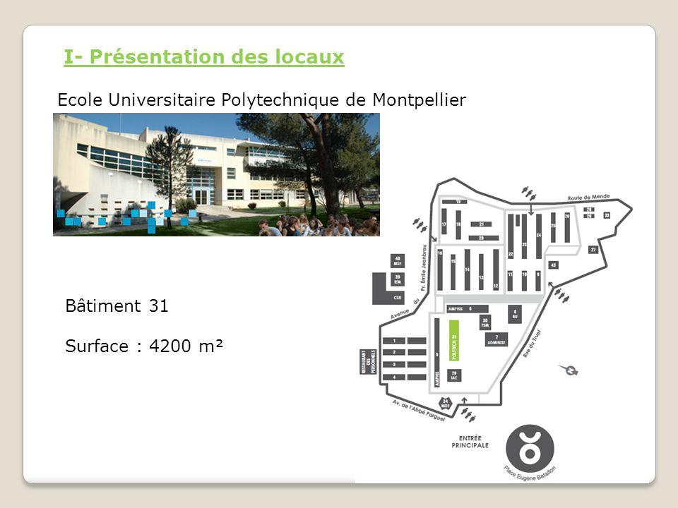 I- Présentation des locaux Ecole Universitaire Polytechnique de Montpellier Bâtiment 31 Surface : 4200 m²