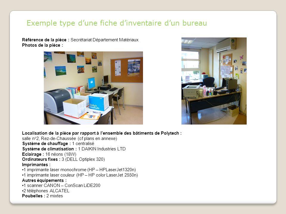 Référence de la pièce : Secrétariat Département Matériaux Photos de la pièce : Localisation de la pièce par rapport à lensemble des bâtiments de Polyt