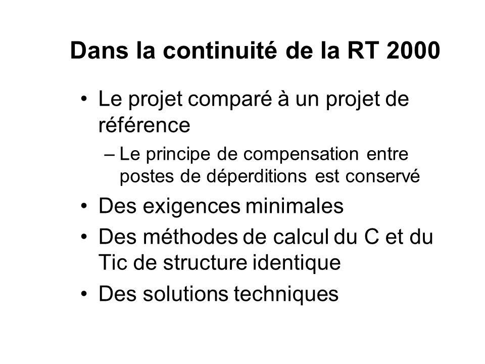 Dans la continuité de la RT 2000 Le projet comparé à un projet de référence –Le principe de compensation entre postes de déperditions est conservé Des
