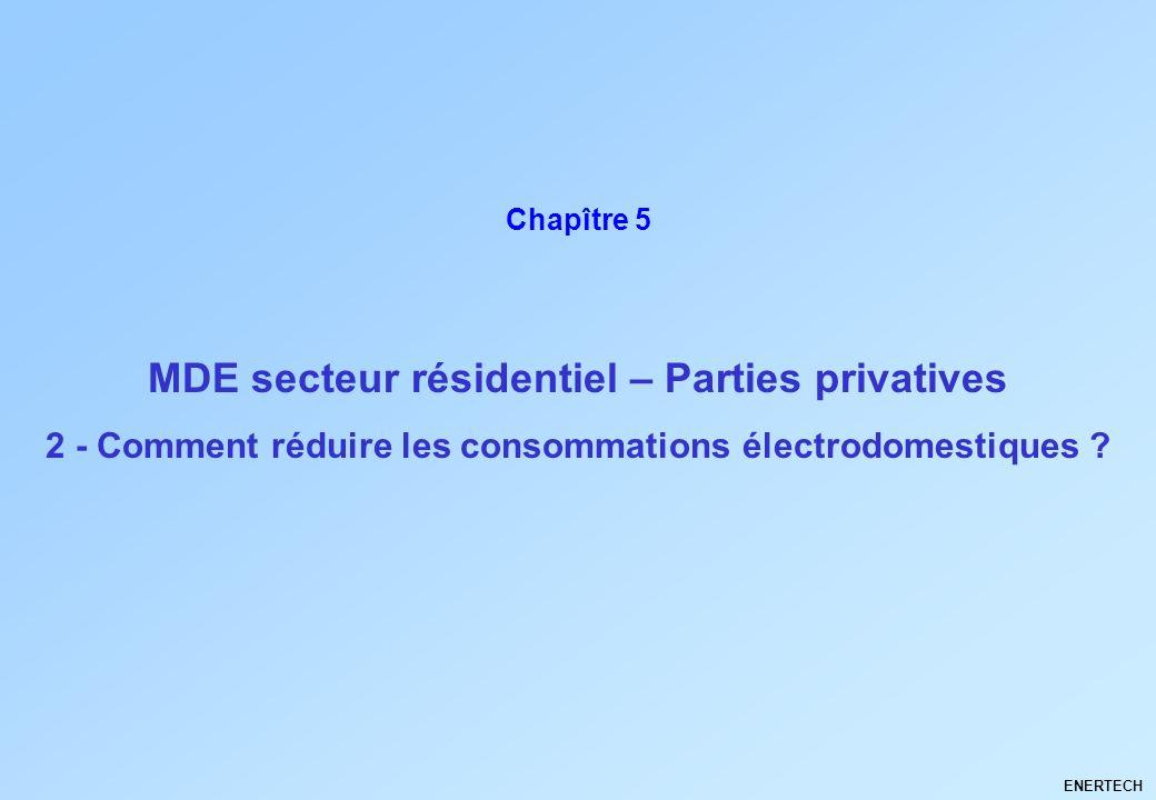 MDE secteur résidentiel – Parties privatives ENERTECH Chapître 5 2 - Comment réduire les consommations électrodomestiques ?