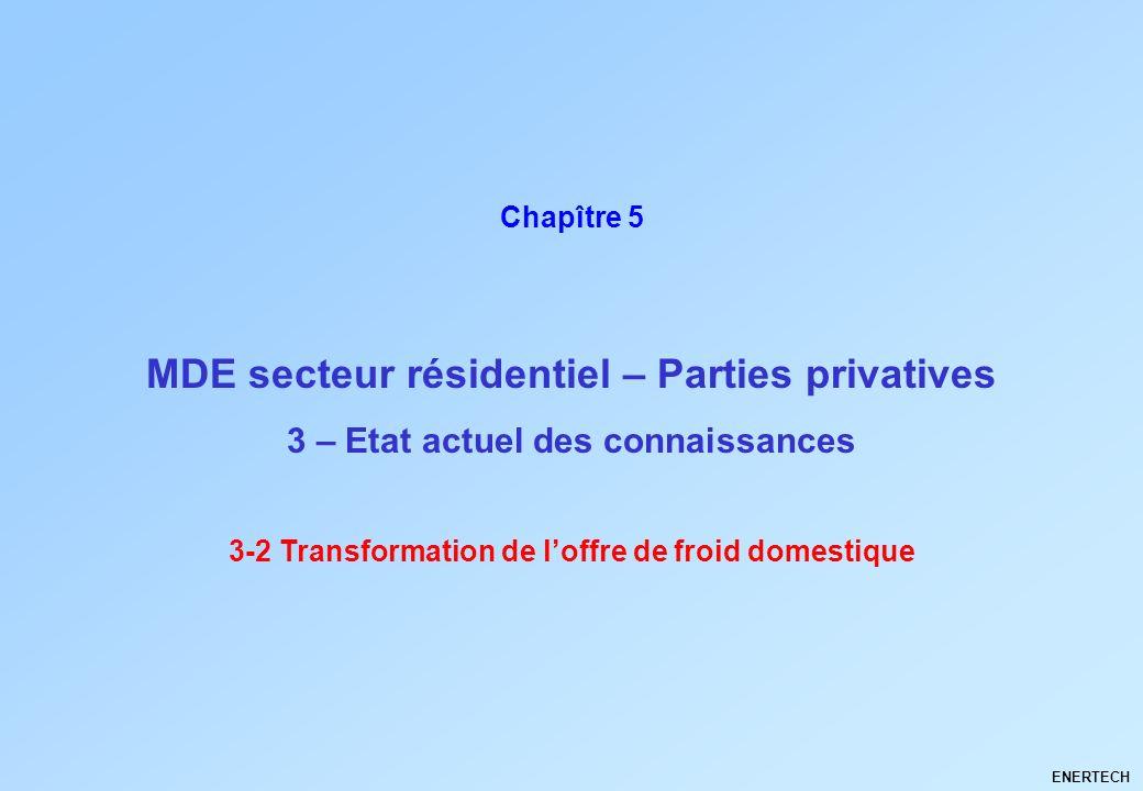 MDE secteur résidentiel – Parties privatives ENERTECH Chapître 5 3 – Etat actuel des connaissances 3-2 Transformation de loffre de froid domestique
