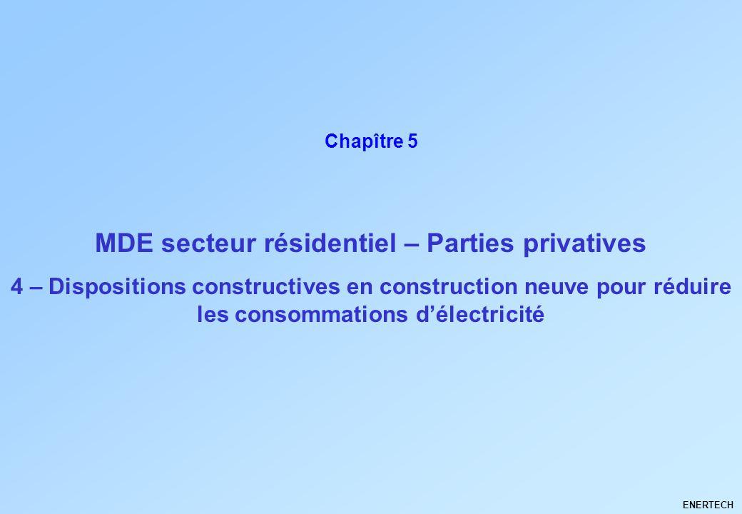 MDE secteur résidentiel – Parties privatives ENERTECH Chapître 5 4 – Dispositions constructives en construction neuve pour réduire les consommations d