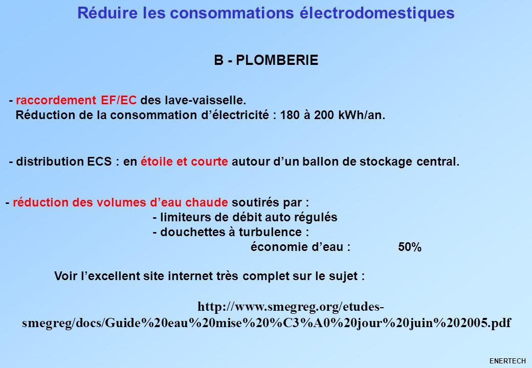 Réduire les consommations électrodomestiques - raccordement EF/EC des lave-vaisselle. Réduction de la consommation délectricité : 180 à 200 kWh/an. B