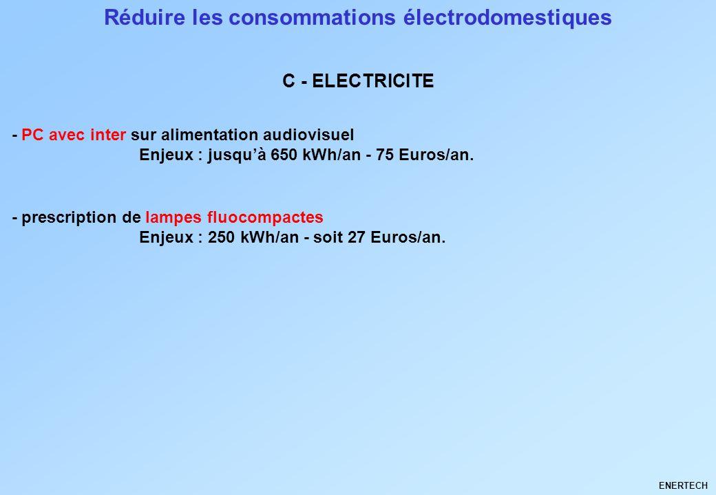 Réduire les consommations électrodomestiques - PC avec inter sur alimentation audiovisuel Enjeux : jusquà 650 kWh/an - 75 Euros/an. C - ELECTRICITE EN