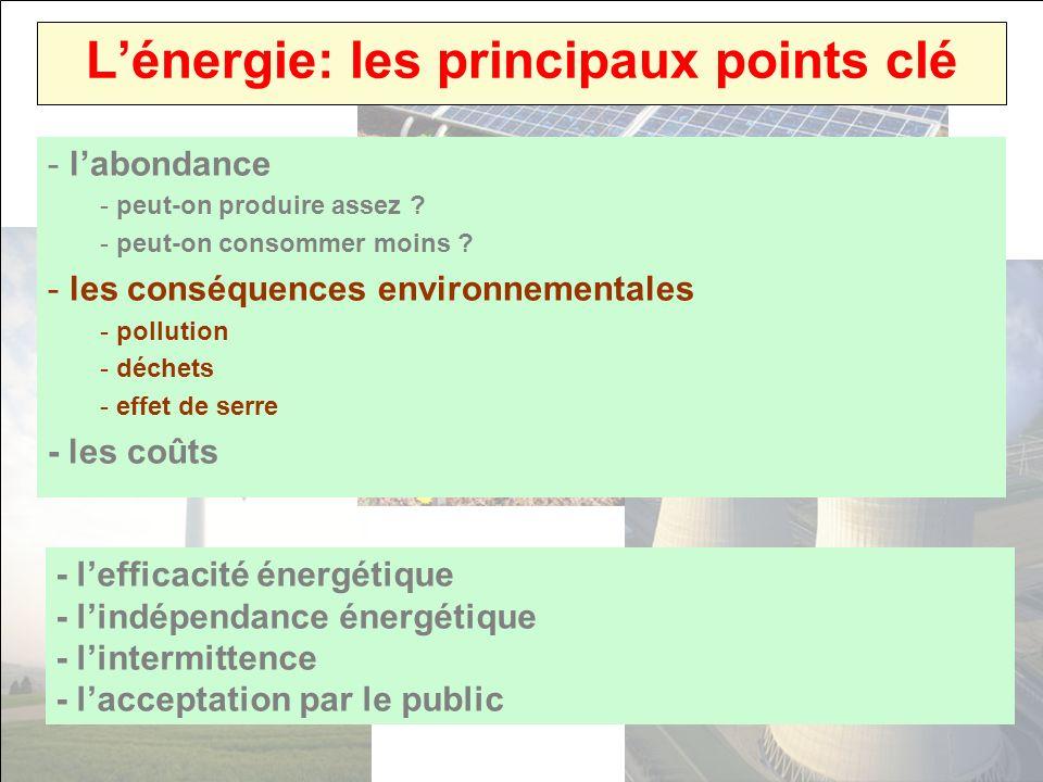 Lénergie: les principaux points clé - labondance - peut-on produire assez ? - peut-on consommer moins ? - les conséquences environnementales - polluti