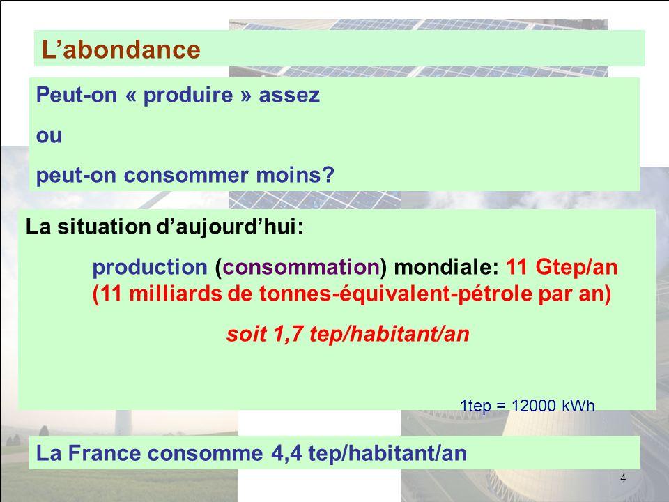 Labondance Peut-on « produire » assez ou peut-on consommer moins? La situation daujourdhui: production (consommation) mondiale: 11 Gtep/an (11 milliar