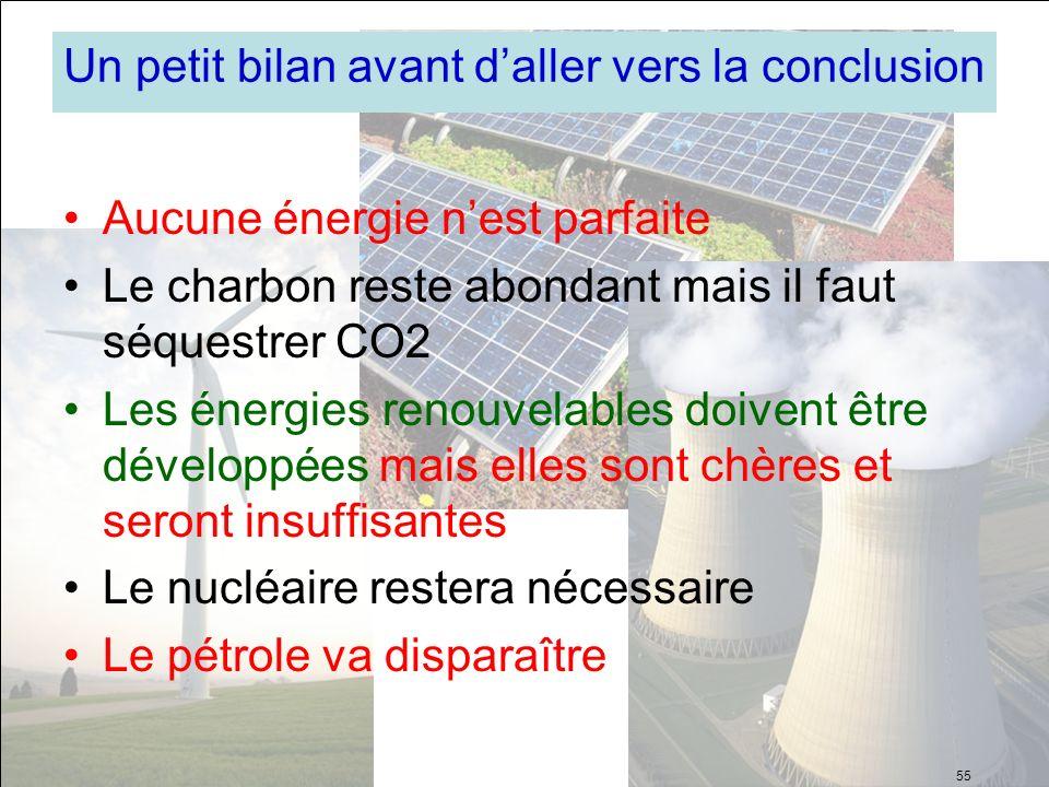 Un petit bilan avant daller vers la conclusion Aucune énergie nest parfaite Le charbon reste abondant mais il faut séquestrer CO2 Les énergies renouve