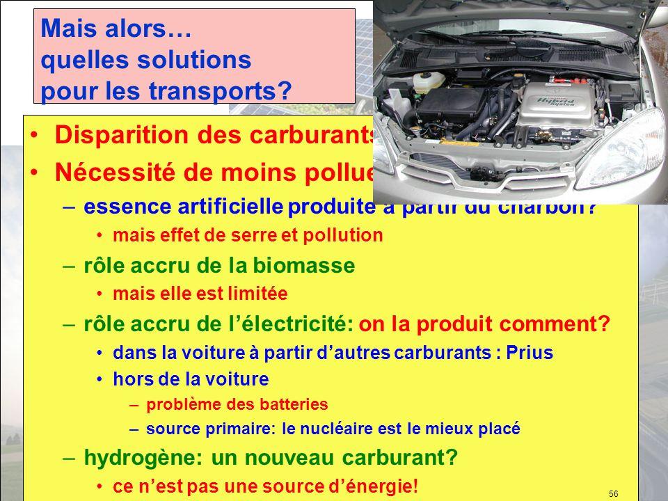 Mais alors… quelles solutions pour les transports? Disparition des carburants actuels Nécessité de moins polluer en ville –essence artificielle produi