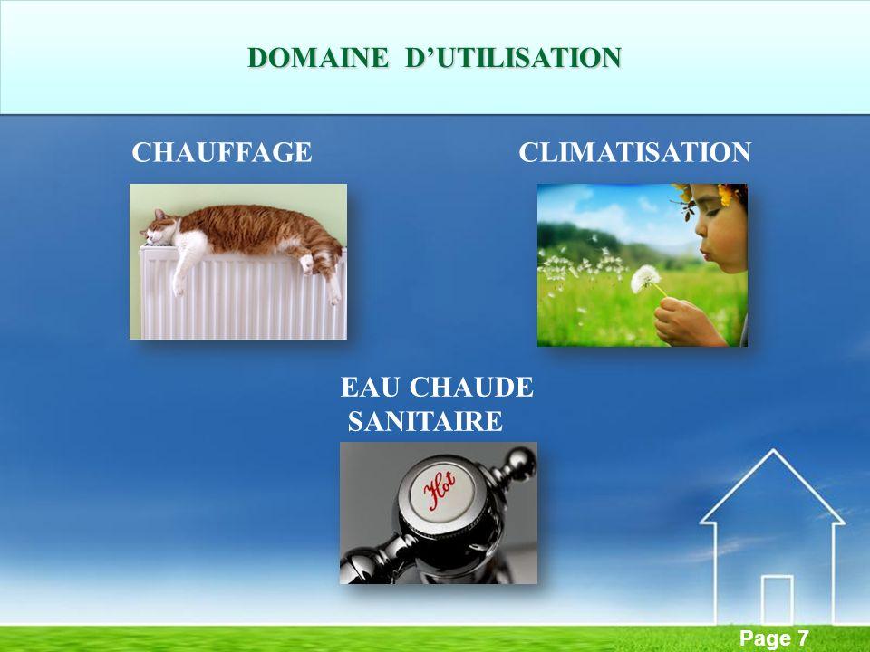 Page 7 CHAUFFAGECLIMATISATION DOMAINE DUTILISATION EAU CHAUDE SANITAIRE