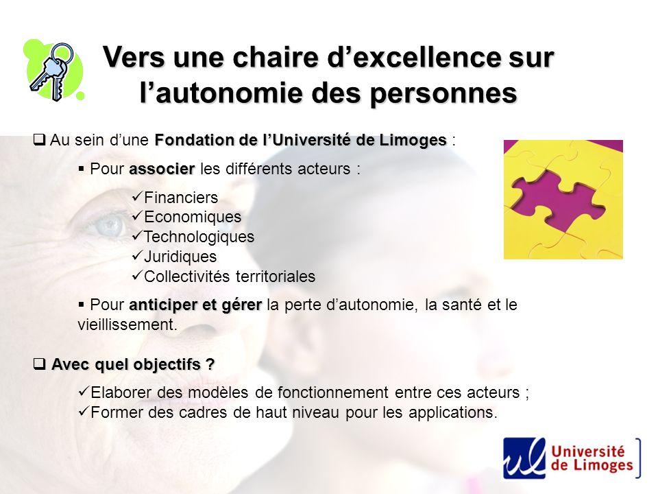 Vers une chaire dexcellence sur lautonomie des personnes Fondation de lUniversité de Limoges Au sein dune Fondation de lUniversité de Limoges : associ