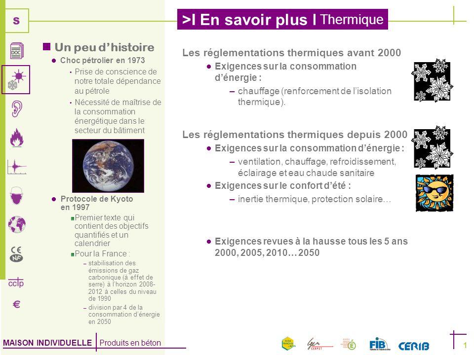 MAISON INDIVIDUELLE Produits en béton >I En savoir plus I Thermique 1 Protocole de Kyoto en 1997 Premier texte qui contient des objectifs quantifiés e