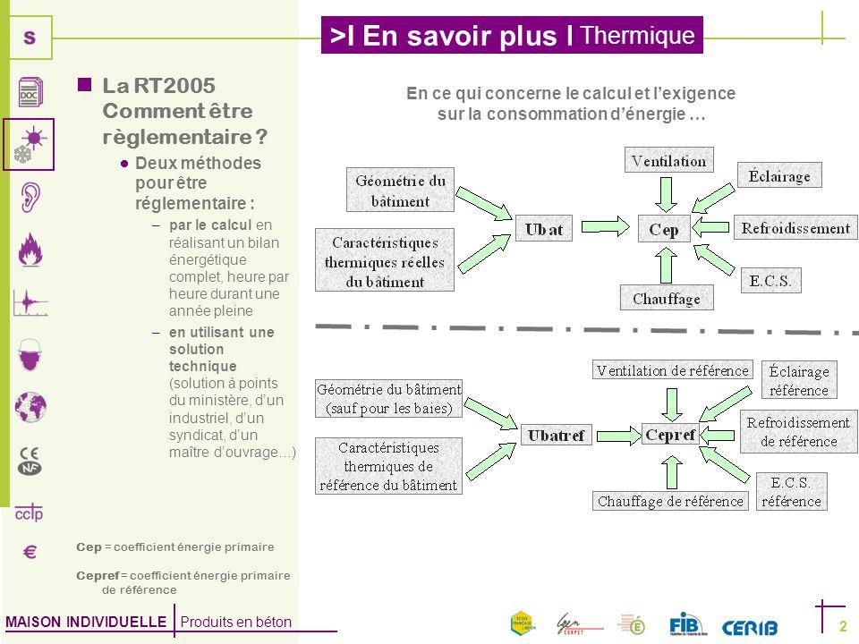 MAISON INDIVIDUELLE Produits en béton >I En savoir plus I Thermique 2 En ce qui concerne le calcul et lexigence sur la consommation dénergie … La RT20
