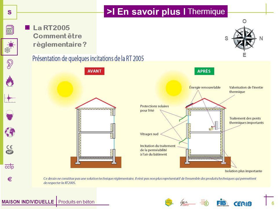 MAISON INDIVIDUELLE Produits en béton >I En savoir plus I Thermique 6 La RT2005 Comment être règlementaire ? NS E O