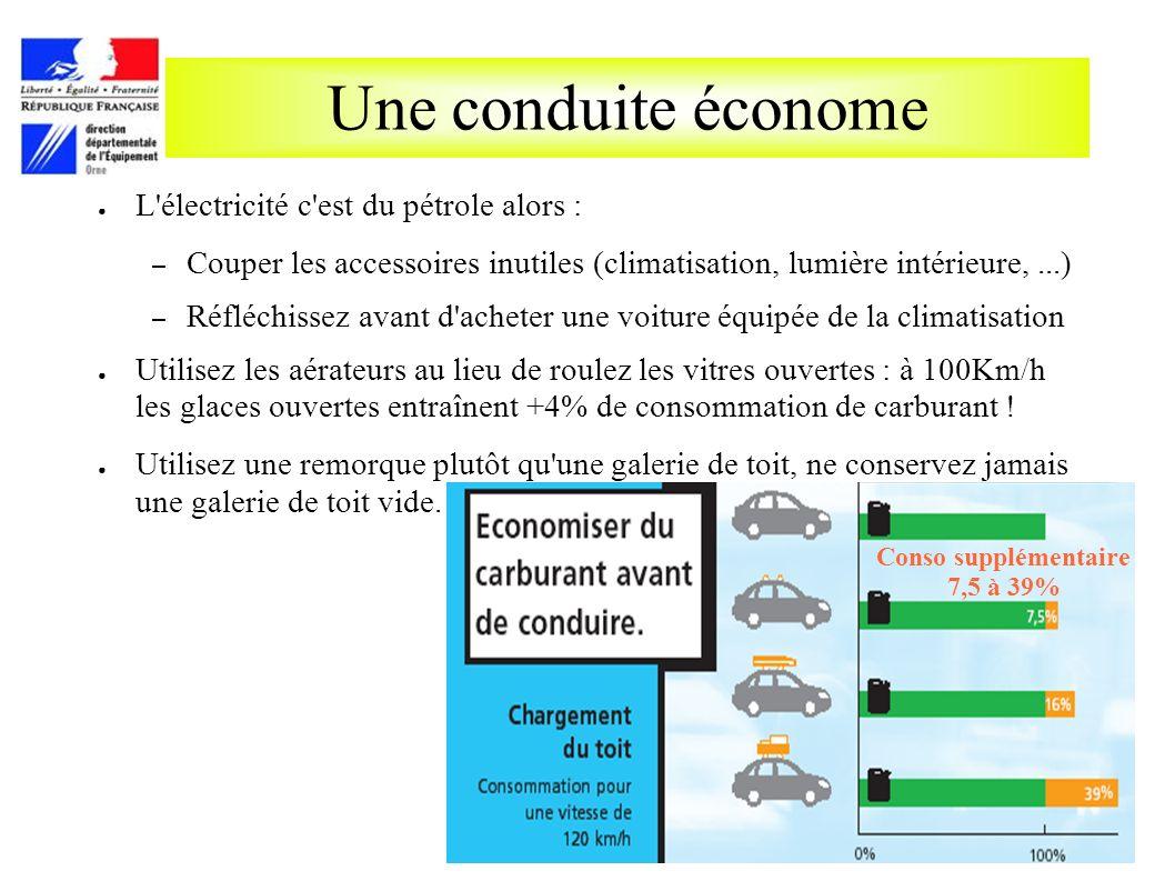 Une conduite économe L'électricité c'est du pétrole alors : – Couper les accessoires inutiles (climatisation, lumière intérieure,...) – Réfléchissez a