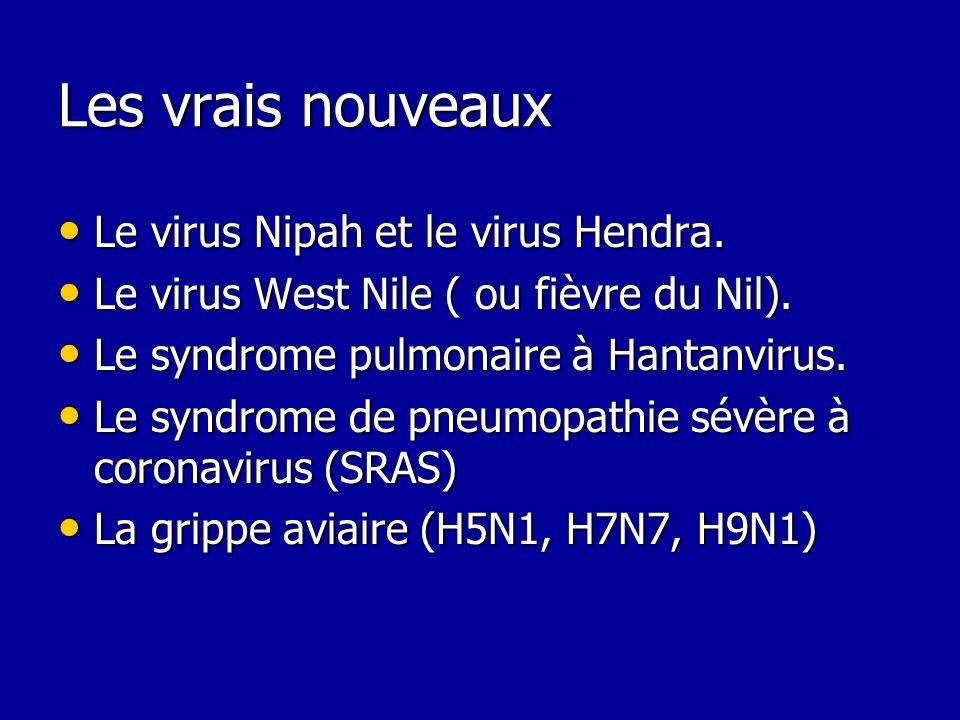 Les vrais nouveaux Le virus Nipah et le virus Hendra. Le virus Nipah et le virus Hendra. Le virus West Nile ( ou fièvre du Nil). Le virus West Nile (
