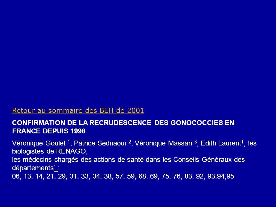 Retour au sommaire des BEH de 2001 CONFIRMATION DE LA RECRUDESCENCE DES GONOCOCCIES EN FRANCE DEPUIS 1998 Véronique Goulet 1, Patrice Sednaoui 2, Véro