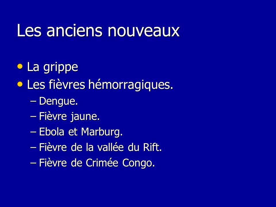 Les anciens nouveaux La grippe La grippe Les fièvres hémorragiques. Les fièvres hémorragiques. –Dengue. –Fièvre jaune. –Ebola et Marburg. –Fièvre de l