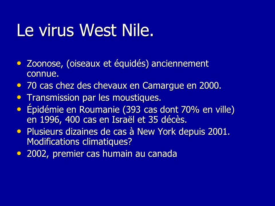 Le virus West Nile. Zoonose, (oiseaux et équidés) anciennement connue. Zoonose, (oiseaux et équidés) anciennement connue. 70 cas chez des chevaux en C