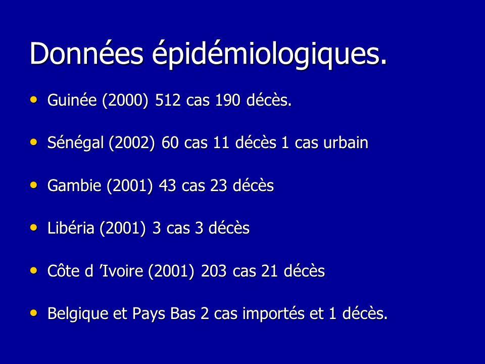 Données épidémiologiques. Guinée (2000) 512 cas 190 décès. Guinée (2000) 512 cas 190 décès. Sénégal (2002) 60 cas 11 décès 1 cas urbain Sénégal (2002)