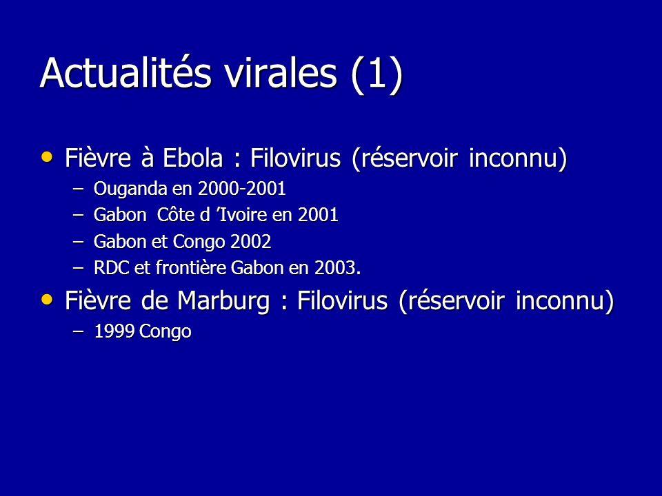 Actualités virales (1) Fièvre à Ebola : Filovirus (réservoir inconnu) Fièvre à Ebola : Filovirus (réservoir inconnu) –Ouganda en 2000-2001 –Gabon Côte