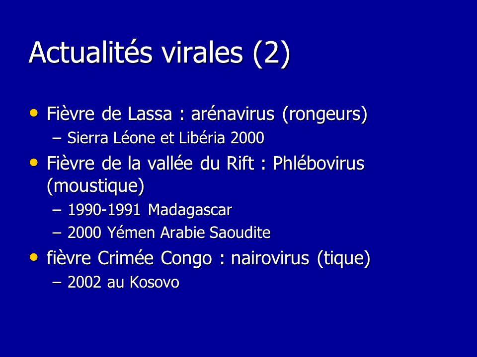 Actualités virales (2) Fièvre de Lassa : arénavirus (rongeurs) Fièvre de Lassa : arénavirus (rongeurs) –Sierra Léone et Libéria 2000 Fièvre de la vall