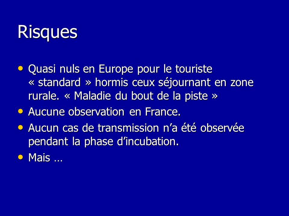 Risques Quasi nuls en Europe pour le touriste « standard » hormis ceux séjournant en zone rurale. « Maladie du bout de la piste » Quasi nuls en Europe
