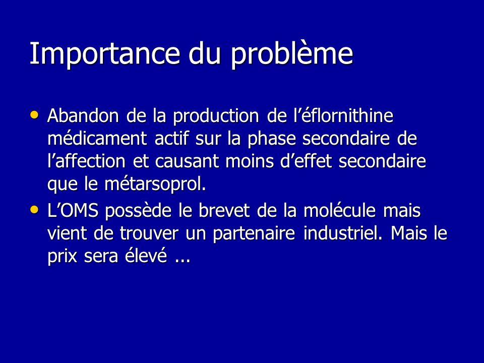 Importance du problème Abandon de la production de léflornithine médicament actif sur la phase secondaire de laffection et causant moins deffet second