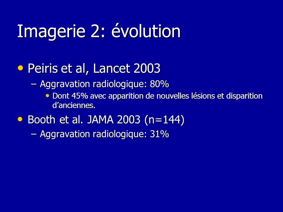 Imagerie 2: évolution Peiris et al, Lancet 2003 Peiris et al, Lancet 2003 –Aggravation radiologique: 80% Dont 45% avec apparition de nouvelles lésions