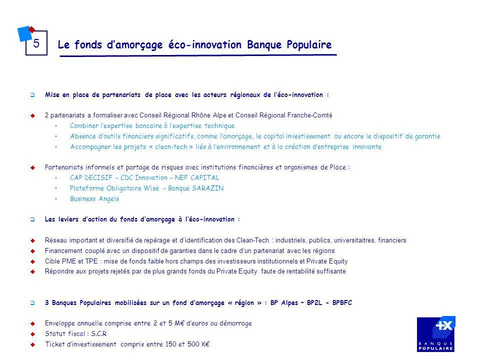 Le fonds damorçage éco-innovation Banque Populaire 5 Mise en place de partenariats de place avec les acteurs régionaux de léco-innovation : 2 partenar