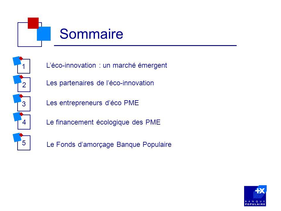 21 Sommaire Léco-innovation : un marché émergent Les partenaires de léco-innovation 3 Les entrepreneurs déco PME 45 Le financement écologique des PME