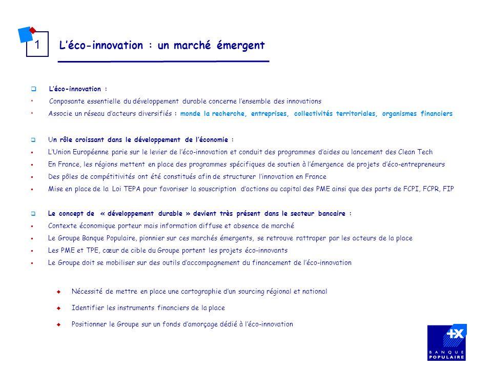 Léco-innovation : un marché émergent 1 Léco-innovation : Conposante essentielle du développement durable concerne lensemble des innovations Associe un