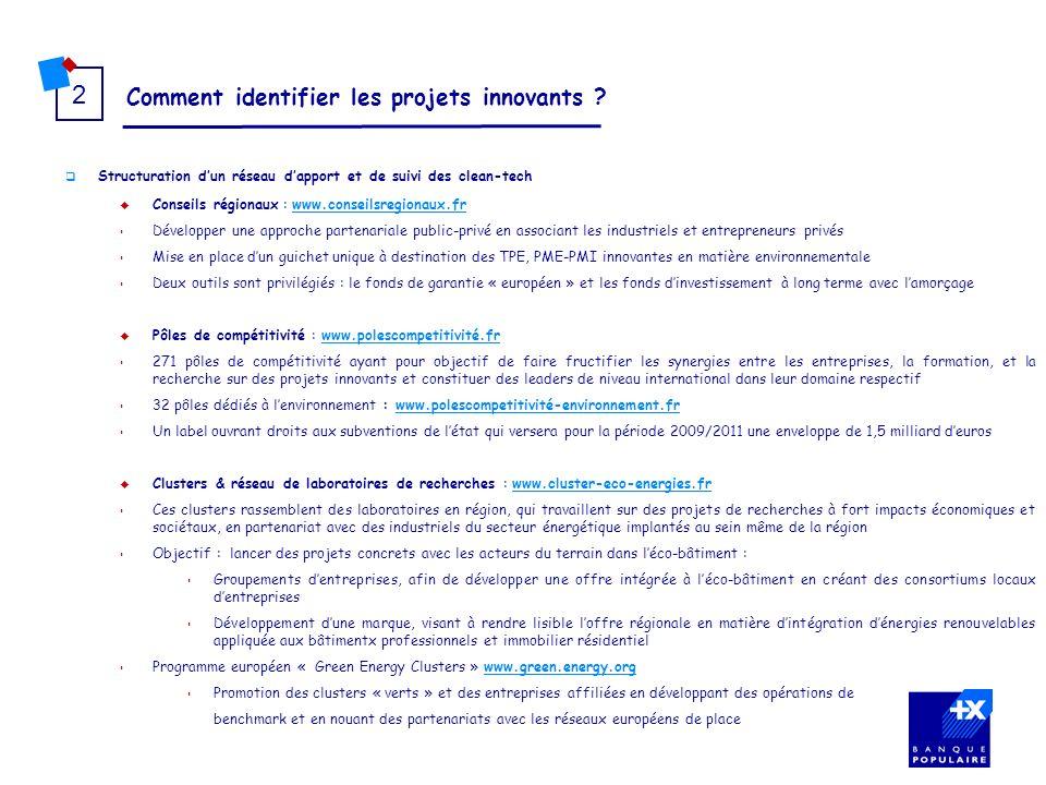 Comment identifier les projets innovants ? 2 Structuration dun réseau dapport et de suivi des clean-tech Conseils régionaux : www.conseilsregionaux.fr