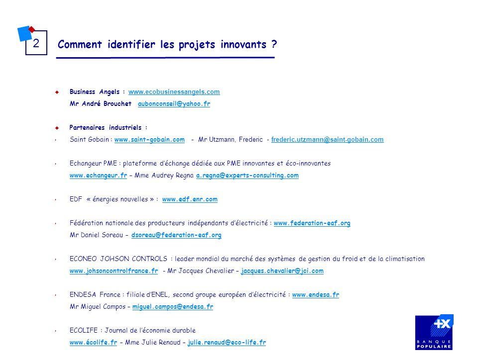 Comment identifier les projets innovants ? 2 Business Angels : www.ecobusinessangels.com www.ecobusinessangels.com Mr André Brouchet aubonconseil@yaho